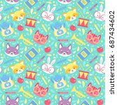 school seamless pattern for... | Shutterstock .eps vector #687434602