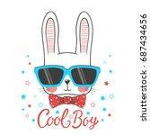 cute rabbit. cool bunny boy... | Shutterstock .eps vector #687434656