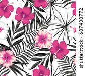 pink white hibiscus flowers on... | Shutterstock .eps vector #687438772