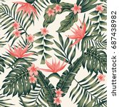 Beach cheerful seamless pattern wallpaper of tropical dark green leaves of palm trees and flowers bird of paradise (strelitzia) plumeria on a light yellow background | Shutterstock vector #687438982
