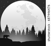 bear silhouette in wildlife...   Shutterstock .eps vector #687446476