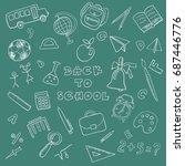 back to school doodle set | Shutterstock .eps vector #687446776