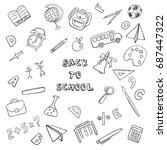 back to school doodle set | Shutterstock .eps vector #687447322
