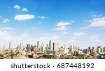 bangkok metropolis. aerial view ... | Shutterstock . vector #687448192