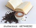 office space on wooden floor ... | Shutterstock . vector #687448282