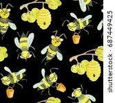 watercolor seamless pattern.... | Shutterstock . vector #687449425