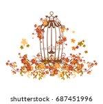 bird cage among autumn tree... | Shutterstock .eps vector #687451996