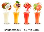 set of fruit juice splash in a... | Shutterstock .eps vector #687453388