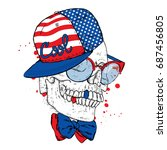 skull in a cap and sunglasses.... | Shutterstock .eps vector #687456805