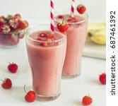 strawberry milkshake in the... | Shutterstock . vector #687461392