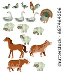 set of animals from the farm | Shutterstock .eps vector #687464206