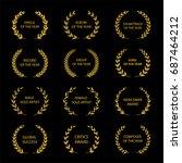 music awards. gold award... | Shutterstock .eps vector #687464212