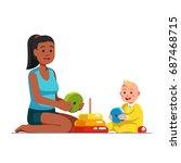 afro american babysitter or... | Shutterstock .eps vector #687468715