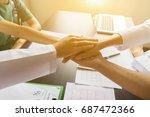 doctors and nurses coordinate... | Shutterstock . vector #687472366