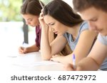 side view of a worried student... | Shutterstock . vector #687472972
