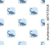 sea dinosaur icon in cartoon...   Shutterstock .eps vector #687473518