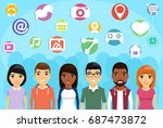 the concept of social internet... | Shutterstock .eps vector #687473872