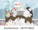 businessman needs help under a... | Shutterstock .eps vector #687474832