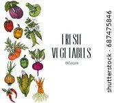 vegetables top view. organic...   Shutterstock .eps vector #687475846