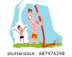 hose shower with father | Shutterstock .eps vector #687476248