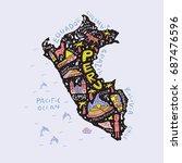 cartoon map of peru. vector... | Shutterstock .eps vector #687476596