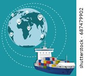 global network of maritime... | Shutterstock .eps vector #687479902