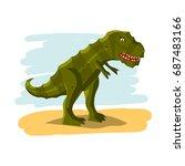 cartoon dinosaur of the... | Shutterstock .eps vector #687483166