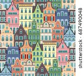 seamless pattern of holland old ...   Shutterstock . vector #687490048