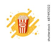 cinema popcorn in striped box... | Shutterstock .eps vector #687492322
