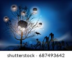 halloween background | Shutterstock .eps vector #687493642