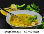 a delicious soup with... | Shutterstock . vector #687494005