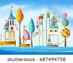 Watercolor Magical Houses  Cit...