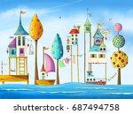 Watercolor Magical Houses  Cit...