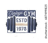 retro gym logo type. vintage... | Shutterstock .eps vector #687499825