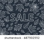 autumn leaves drawn with chalk... | Shutterstock . vector #687502552