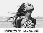 black and white outdoor fashion ... | Shutterstock . vector #687502906