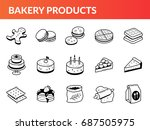 set of bakery icons. collection ... | Shutterstock .eps vector #687505975