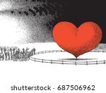 heart behind fence | Shutterstock .eps vector #687506962