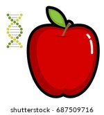 a red apple and a dna helix.... | Shutterstock .eps vector #687509716