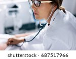 close up of female doctor...   Shutterstock . vector #687517966