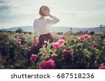Stock photo flower series pink field crimea the village of turgenyevka a country girl enjoys the sunset 687518236