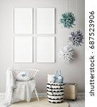 mock up poster frame in... | Shutterstock . vector #687523906