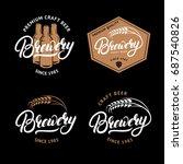 set of brewery hand written... | Shutterstock . vector #687540826