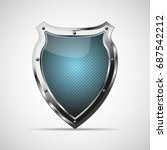 metal blue shield with shadow... | Shutterstock .eps vector #687542212