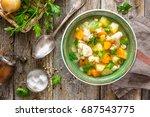 vegetable soup | Shutterstock . vector #687543775