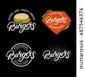set burgers hand written... | Shutterstock . vector #687546376
