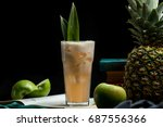 cocktail with apple   pineapple | Shutterstock . vector #687556366
