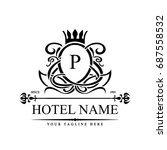luxury logo template in vector... | Shutterstock .eps vector #687558532