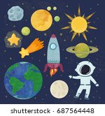 outer space set. cosmic journey ... | Shutterstock .eps vector #687564448