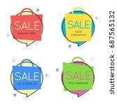 flat speech bubble shapes.... | Shutterstock .eps vector #687565132